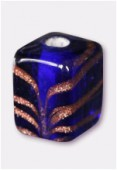 Perle en verre cube VTP4 bleu foncé x4