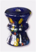Perle en verre forme VB2 bleu foncé x1