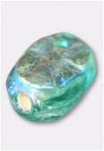 Perle en verre palet HRB5 vert d'eau irisé x12