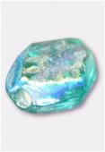 Perle en verre palet HRB7 vert d'eau irisé x12