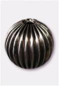 Perle en laiton ronde 14 mm argent vieilli x2