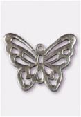 Breloque en métal papillon découpé 25x30 mm argent vieilli x1