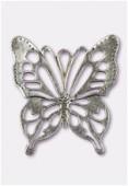 Pendentif en métal papillon découpé 45x50 mm argent vieilli x1