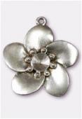 Pendentif en métal fleur 30x30 mm argent vieilli x1