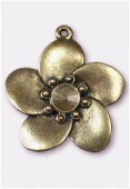 Pendentif en métal fleur 30x30 mm bronze x1