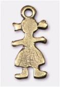 Breloque en métal petite fille 5x14 mm bronze x4