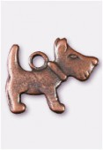 Breloque en métal chien 10x16 mm cuivre x2