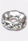 Rondelle strass 8 mm trou 2,5 mm cristal / argent x1