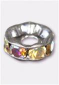 Rondelle strass 8 mm trou 2,5 mm cristal AB / argent x1