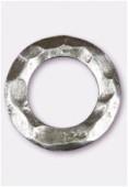 Perle en métal anneau martelé 25 mm argent vieilli x2