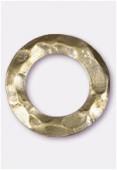 Perle en métal anneau martelé 25 mm bronze x2