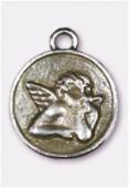Breloque en métal médaillon ange 23 mm argent vieilli x1