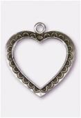 Pendentif en métal grand coeur évidé 50x45 mm argent vieilli x1