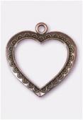 Pendentif en métal grand coeur évidé 50x45 mm cuivre x1