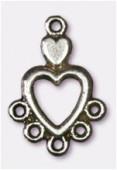 Chandelier coeur 5 anneaux 18x12 mm argent vieilli x2
