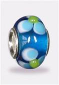 Perle façon pandora blue lt flower/s 12x7 mm x1