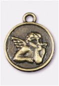 Breloque en métal médaillon ange 23 mm bronze x1