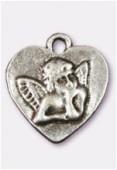 Breloque en métal coeur ange 22x20 mm argent vieilli x1