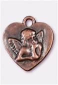 Breloque en métal coeur ange 22x20 mm cuivre x1