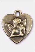 Breloque en métal coeur ange 22x20 mm bronze x1