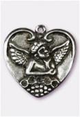Pendentif en metal coeur ange pt 25x25 mm argent vieilli x1
