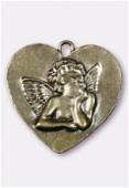 Pendentif en metal coeur ange gd 47x47 mm bronze x1