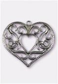 Pendentif en métal coeur entrelacs gd 50x47 mm argent vieilli x1