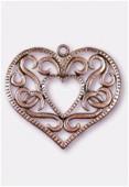 Pendentif en métal coeur entrelacs gd 50x47 mm cuivre x1