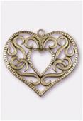 Pendentif en métal coeur entrelacs gd 50x47 mm bronze x1