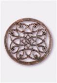 Pendentif en métal cercle rosace 43 mm cuivre x1