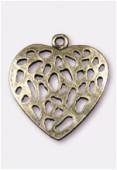 Pendentif en métal coeur ajouré 30x28 mm bronze x1