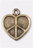 Breloque en métal coeur peace 20x17 mm bronze x2