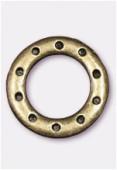 Perle en métal anneau 10 trous 23 mm bronze x1