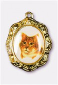 Médaille chat or 19x16 mm x1