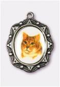 Médaille chat argent vieilli 19x16 mm x1