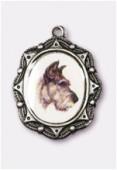 Médaille chien argent vieilli 19x16 mm x1