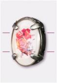 Intercalaire ovale serti bouquet de roses argent vieilli 16x12 mm x1