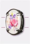 Intercalaire ovale serti bouquet de fleurs argent vieilli 16x12 mm x1