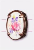 Intercalaire ovale serti bouquet de fleurs cuivre 16x12 mm x1