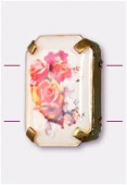 Intercalaire rectangle serti bouquet de roses or 19x13 mm x1