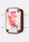 Intercalaire rectangle serti bouquet de roses cuivre 19x13 mm x1