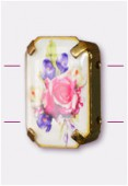 Intercalaire rectangle serti bouquet de fleurs or 19x13 mm x1