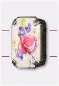 Intercalaire rectangle serti bouquet de fleurs argent vieilli 19x13 mm x1