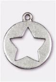 Breloque en métal étoile découpée 20 mm argent vieilli x2