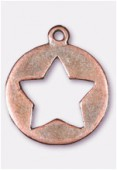 Breloque en métal étoile découpée 20 mm cuivre x2