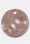 Breloque en métal sequin martelé 24 mm cuivre x1