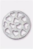Pendentif en métal coeurs découpés argent 33 mm x1