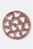 Pendentif en métal coeurs découpés cuivre 33 mm x1