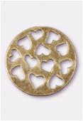 Pendentif en métal coeurs découpés bronze 33 mm x1
