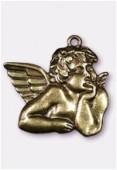 Pendentif en métal angelot bronze 56x45 mm x1